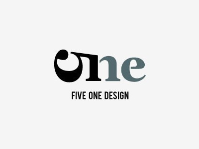 Five one text logo design