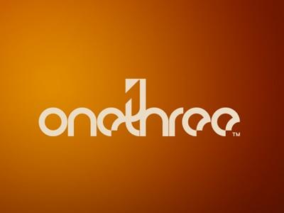 Onethree font logo design